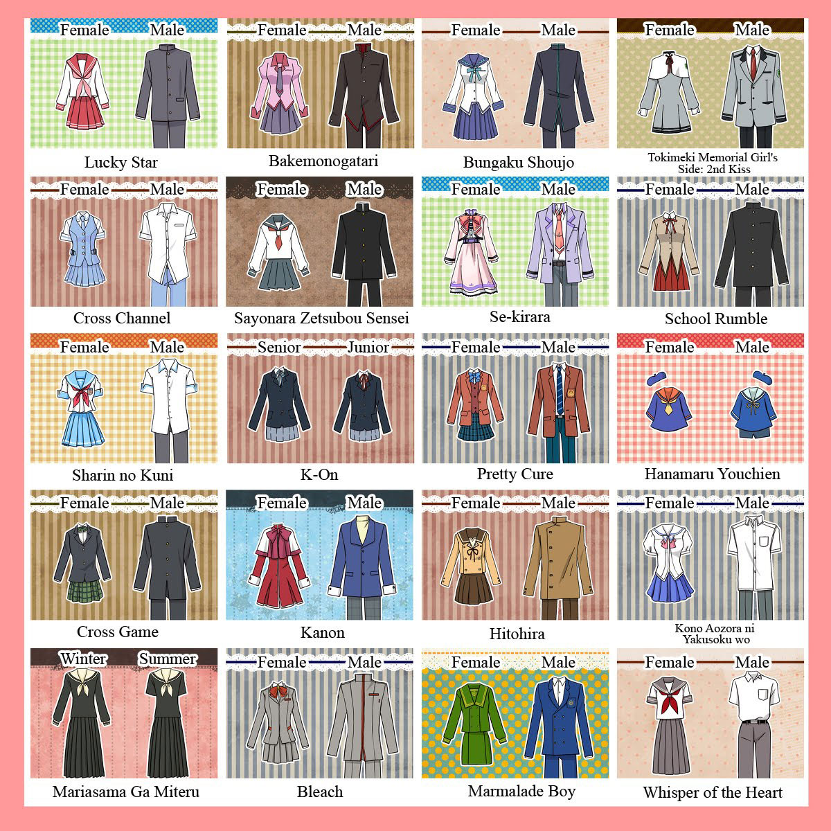 Japanese anime school uniforms
